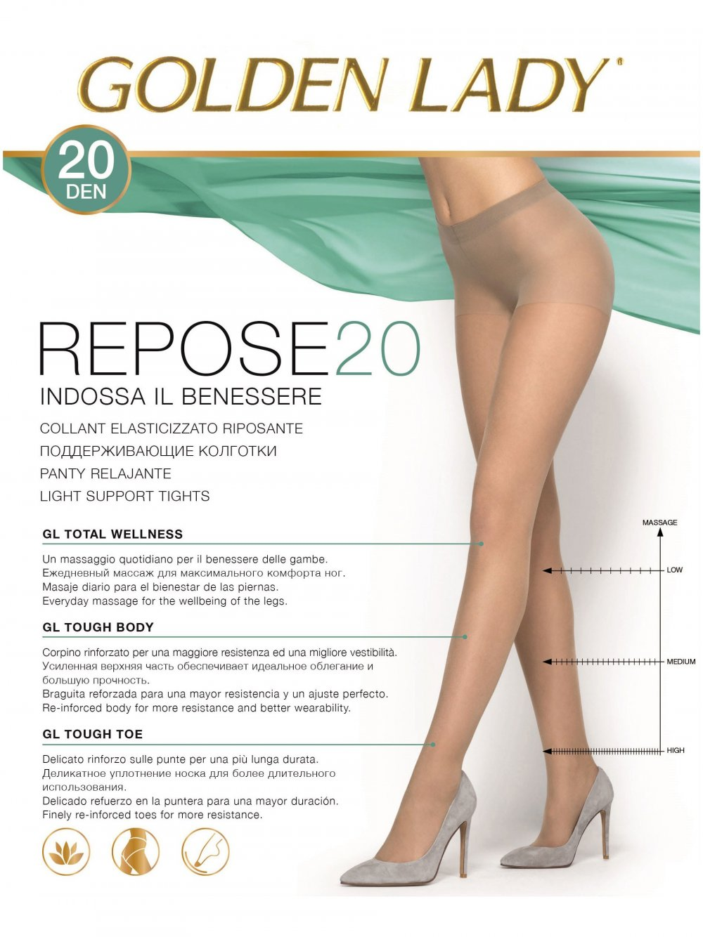 REPOSE 20 DEN GOLDEN LADY COLLANT RIPOSANTE VELATO