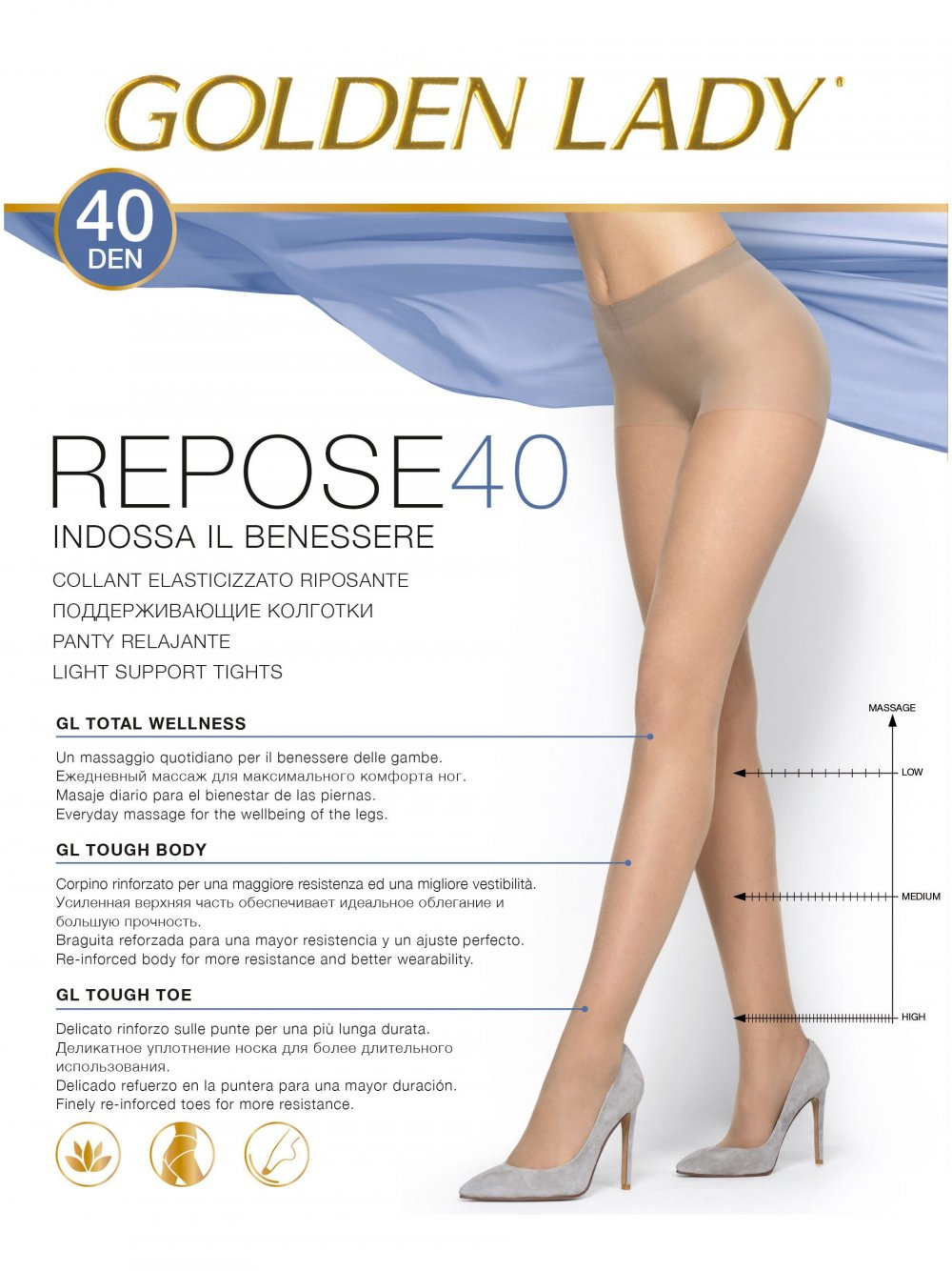 REPOSE 40 DEN GOLDEN LADY COLLANT RIPOSANTE VELATO